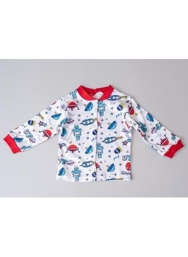 POKY Erkek Bebek 6-24 Ay Çıtçıtlı Desenli Pijama Takım Kırmızı